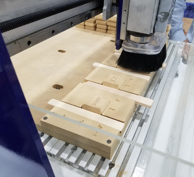 ShopBot CNC cutting wood templates for vacuum forming.
